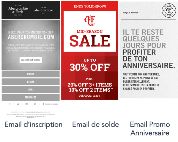 Emailing Exemples Ecommerce Abercrombie & Fitch