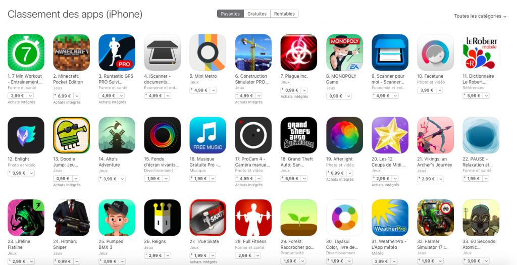 Application Payantes Apple Appstore