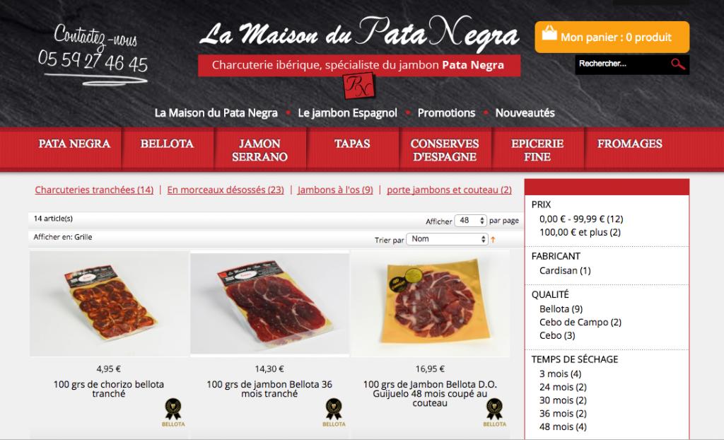 site e-commerce actuel Maison du Pata Negra