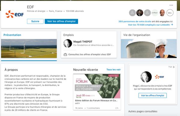 LinkedIn Page Entreprise EDF